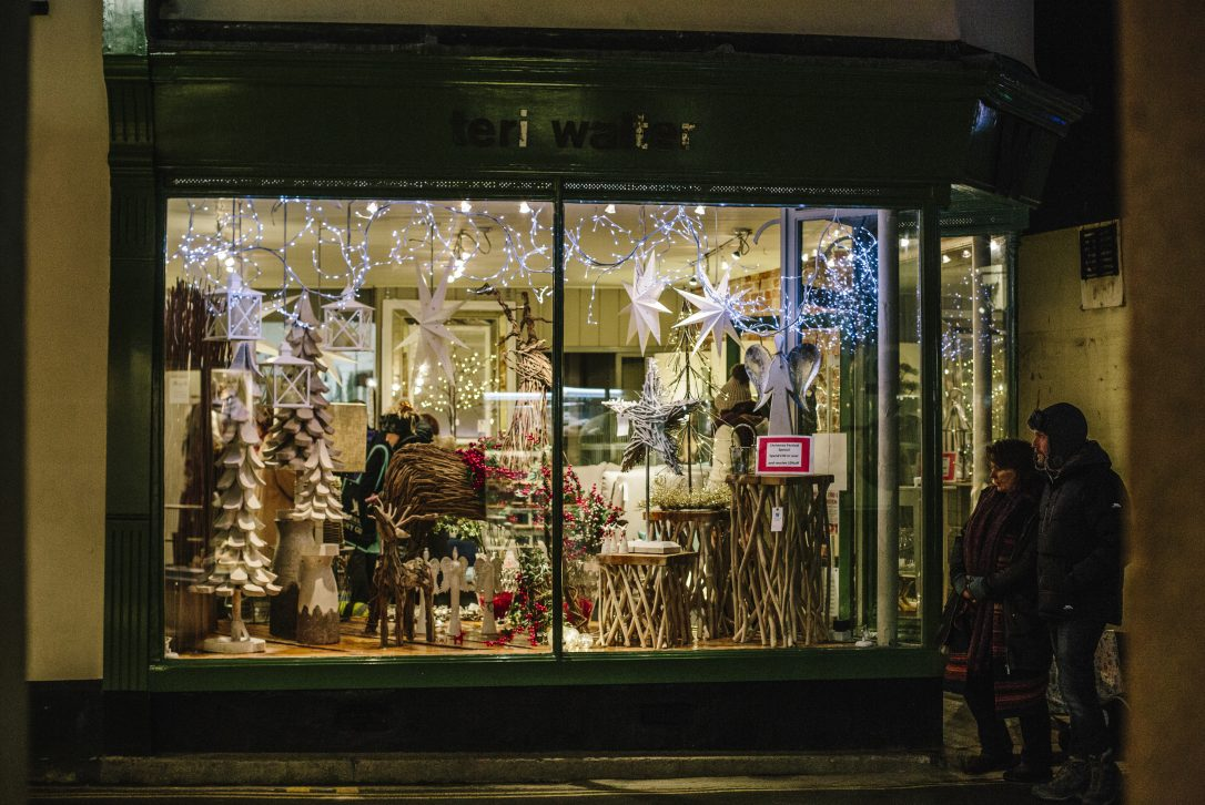 Padstow shops during Padstow Christmas Festival