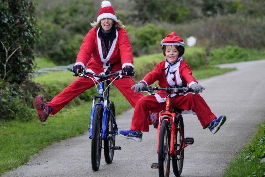 Santa cycle at Padstow Christmas Festival