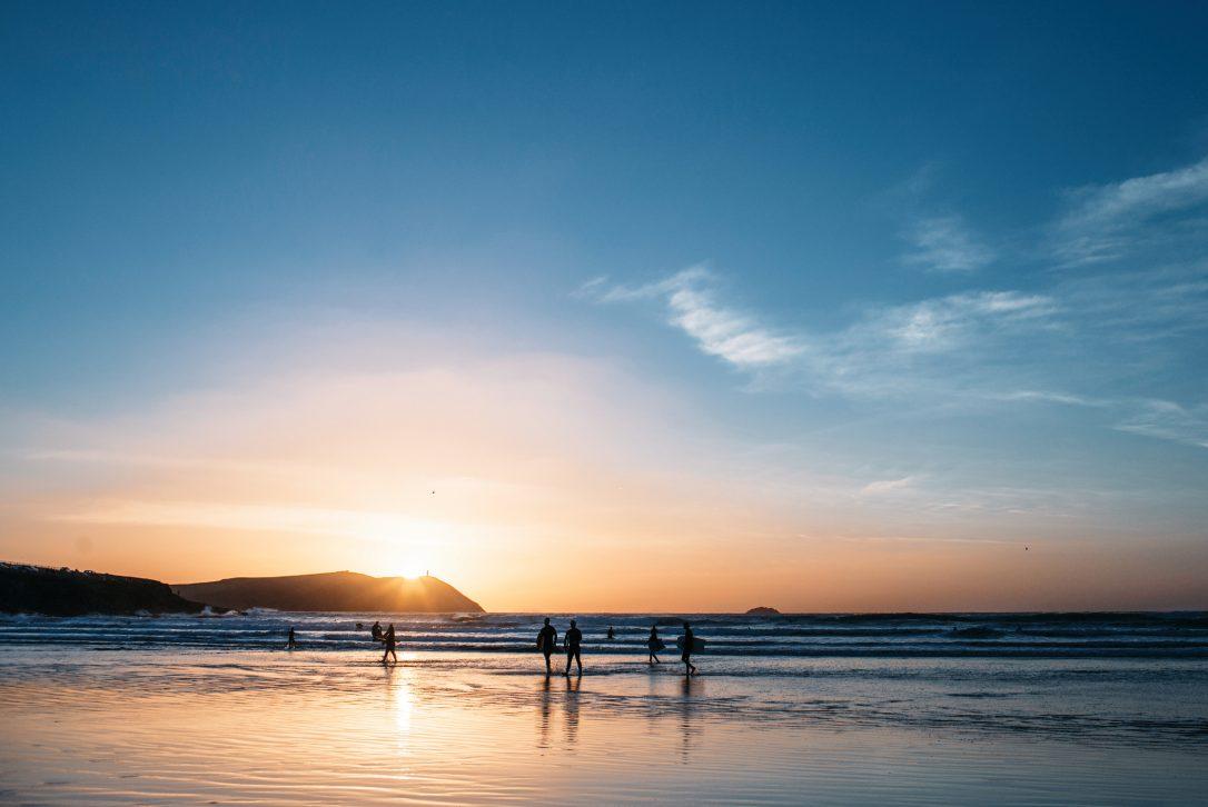 Sunset at Polzeath beach, North Cornwall