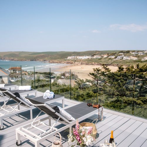 View from the deck at Parker's Place, a self-catering holiday home in Polzeath, North Cornwall