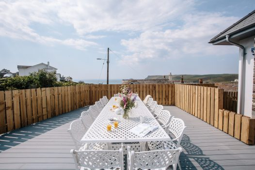 Al fresco dining at Parker's Place, a self-catering holiday home in Polzeath, North Cornwall