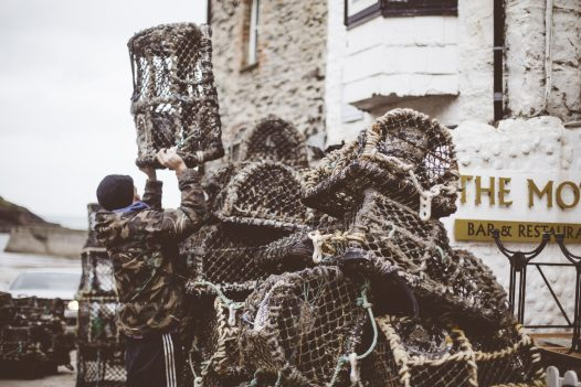 Lobster pots on the slipway at Port Isaac