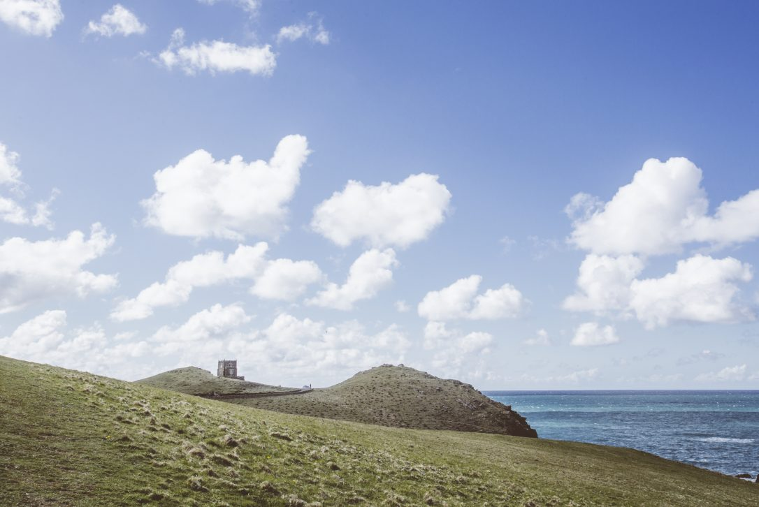 Doyden headland is home to Doyden Castle at Port Quin, North Cornwall