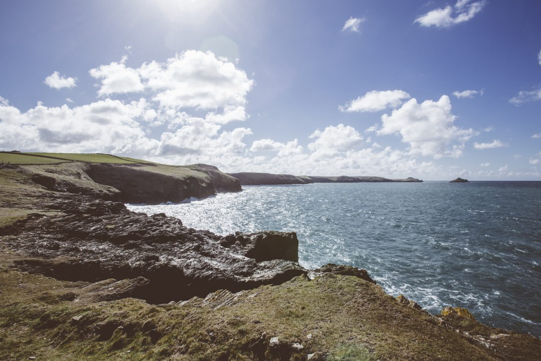 View from Port Quin across to Lundy Bay, The Rumps and The Mouls Island