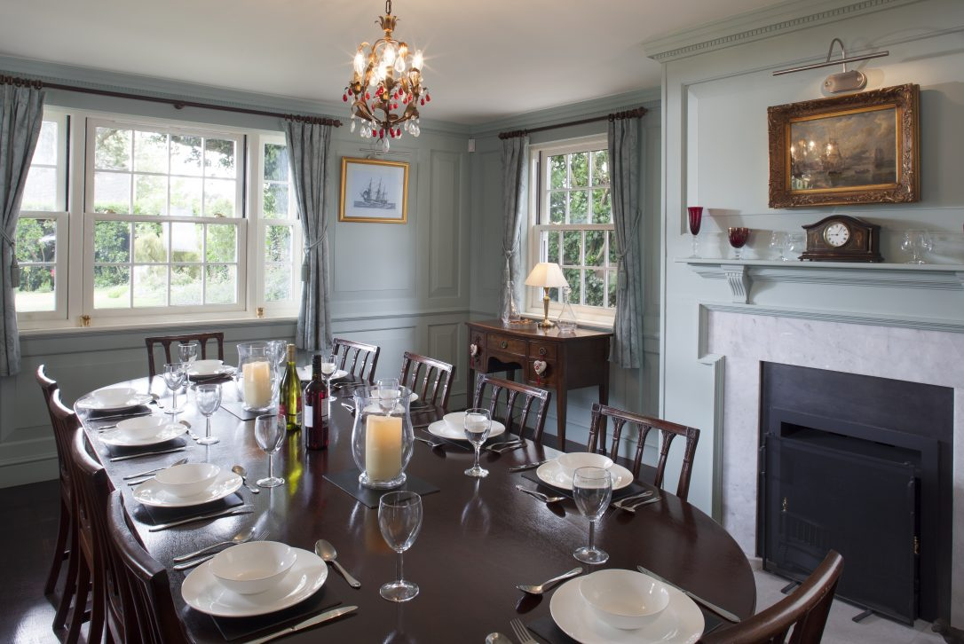 Dining room at Rockhaven Manor, a self-catering holiday home in Rock, North Cornwall.