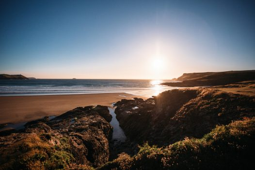 Beautiful sunset at Polzeath Beach, North Cornwall