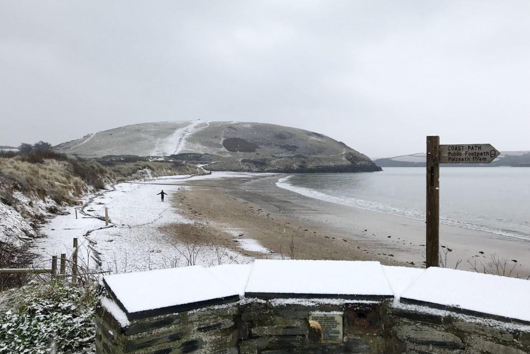 Snow on Daymer Bay, North Cornwall