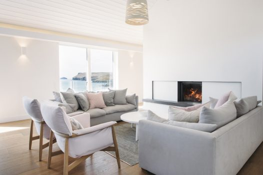 Living room at Carn Mar in Polzeath, recently awarded Silver at the South West Tourism Awards 2019