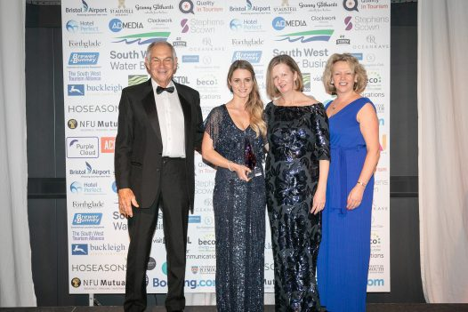 Katy Austin-Waters and Jill Landeryou collect Silver for Self Catering Accommodation of the Year at the South West Tourism Awards 2019 at Aerospace Bristol