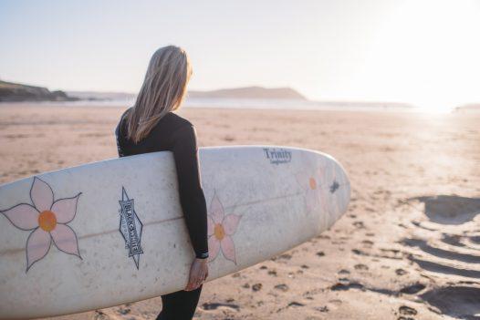Surfer on Polzeath beach
