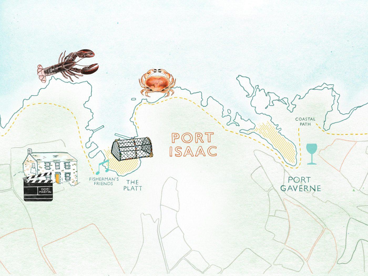 Map of Port Isaac, North Cornwall