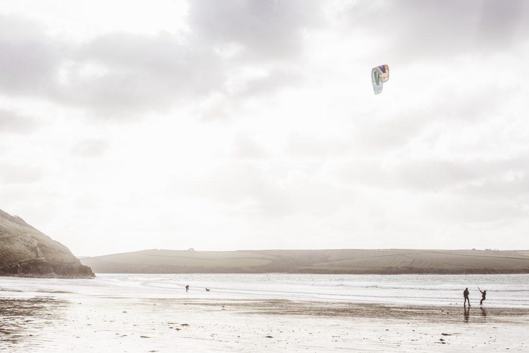 Kitesurfing at Daymer Bay, North Cornwall