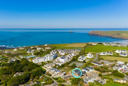 Aerial view of 1 Higher Farm located between Daymer Bay and Polzeath, North Cornwall
