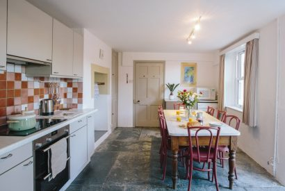 Kitchen at No 2 Pentire View, a self-catering holiday home in Polzeath, North Cornwall
