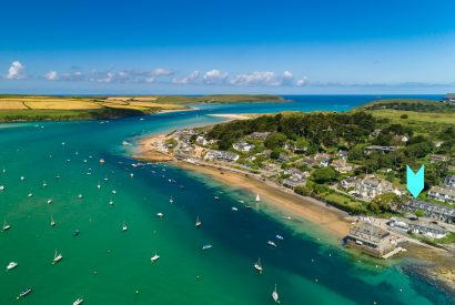 Aerial view of 2 Slipway, self-catering holiday property in Rock, North Cornwall