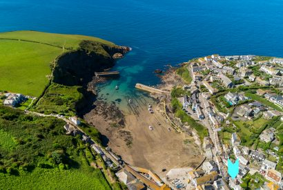 Aerial view of 2 The Old Bakehouse, a self-catering holiday apartment in Port Isaac, North Cornwall