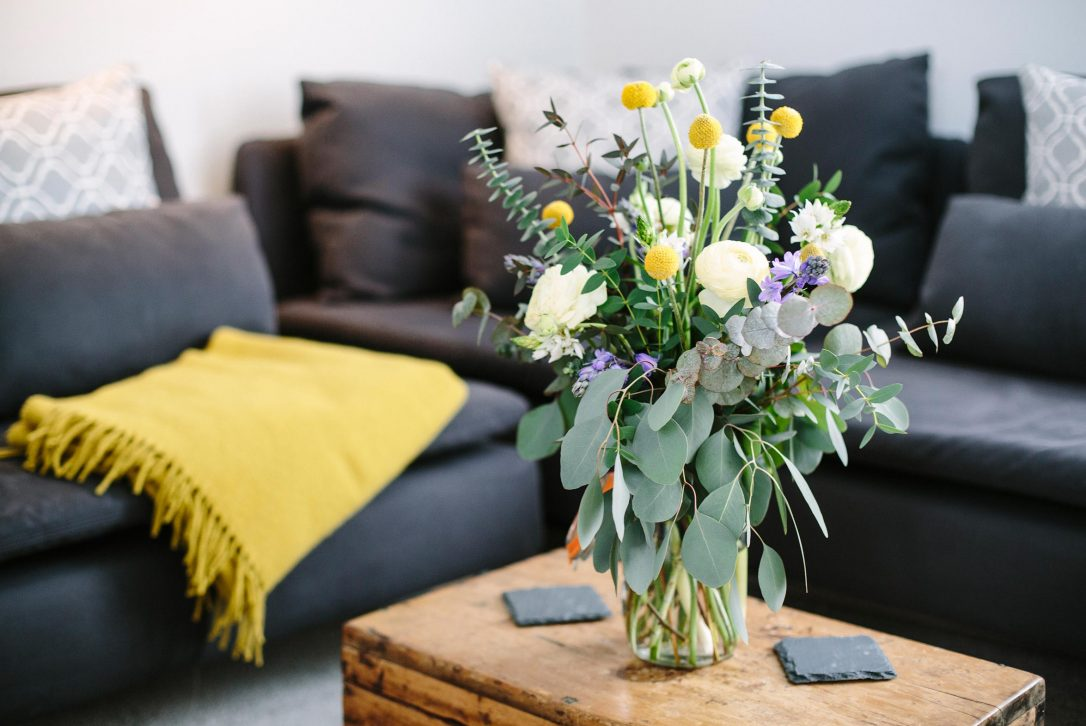 Vibrant touches of yellow bring colour to the stylish muted colour palette
