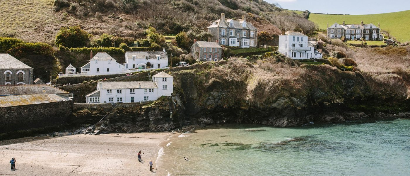 View across the beach and water at Port Isaac, North Cornwall