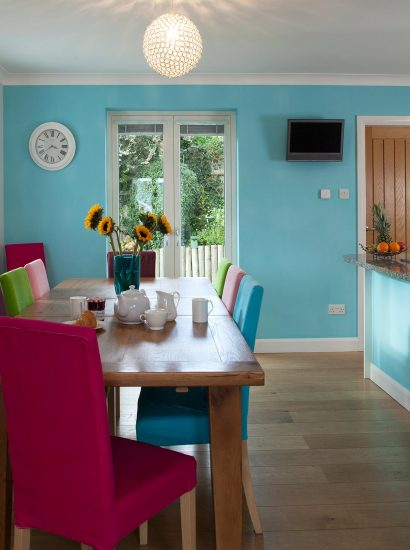 The dining room at Fifty Little Trelyn, a self-catering holiday home in Rock, North Cornwall