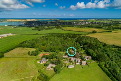 Aerial view of Badger Cottage, a self-catering holiday home in Rock, North Cornwall