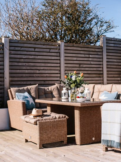 Garden at 25 The Beaches, a self-catering holiday home in Rock, North Cornwall