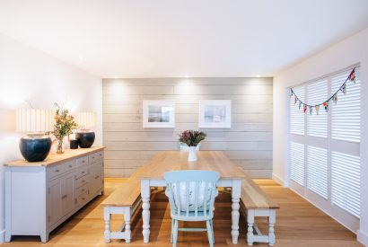 Dining room at Brickwood, a self-catering holiday home in Rock, North Cornwall