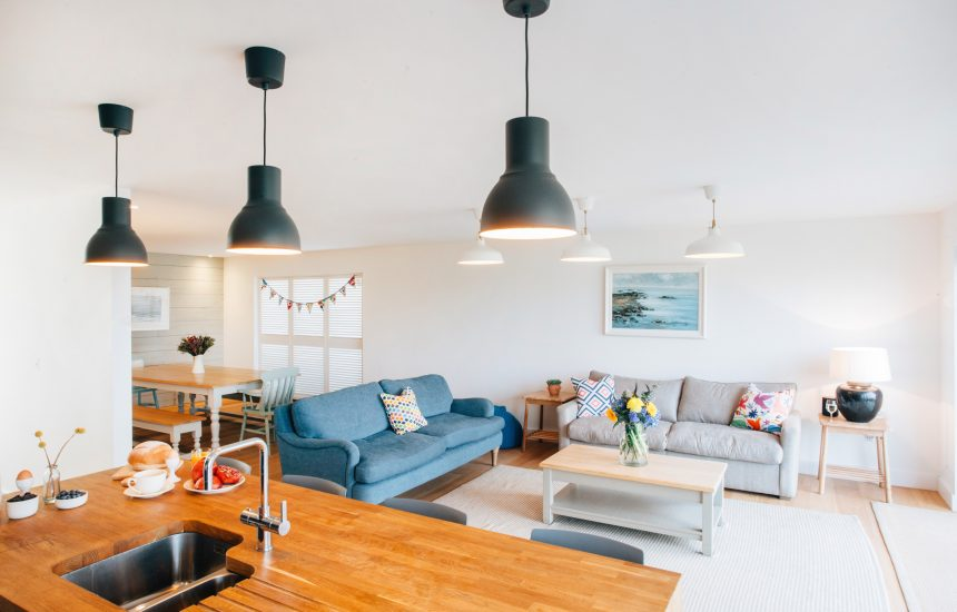 Living spaces at Brickwood, a self-catering holiday home in Rock, North Cornwall