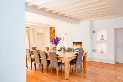 The dining room in Buzza Vean, a self-catering holiday home in Rock, Cornwall