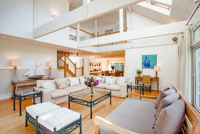 The living room at Buzza Vean, a self-catering holiday home in Rock, Cornwall
