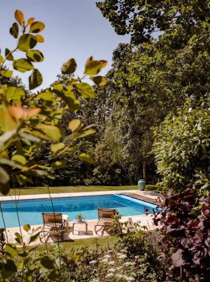 The swimming pool belonging to Buzza Vean, a self-catering holiday home in Rock, Cornwall