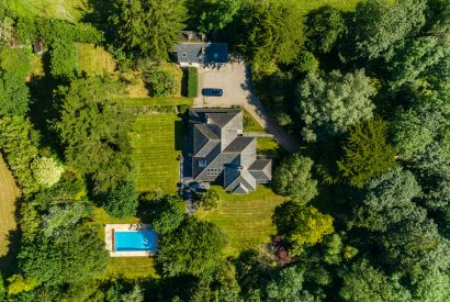 An aerial view of Buzza Vean, a self-catering holiday home in Rock, North Cornwall