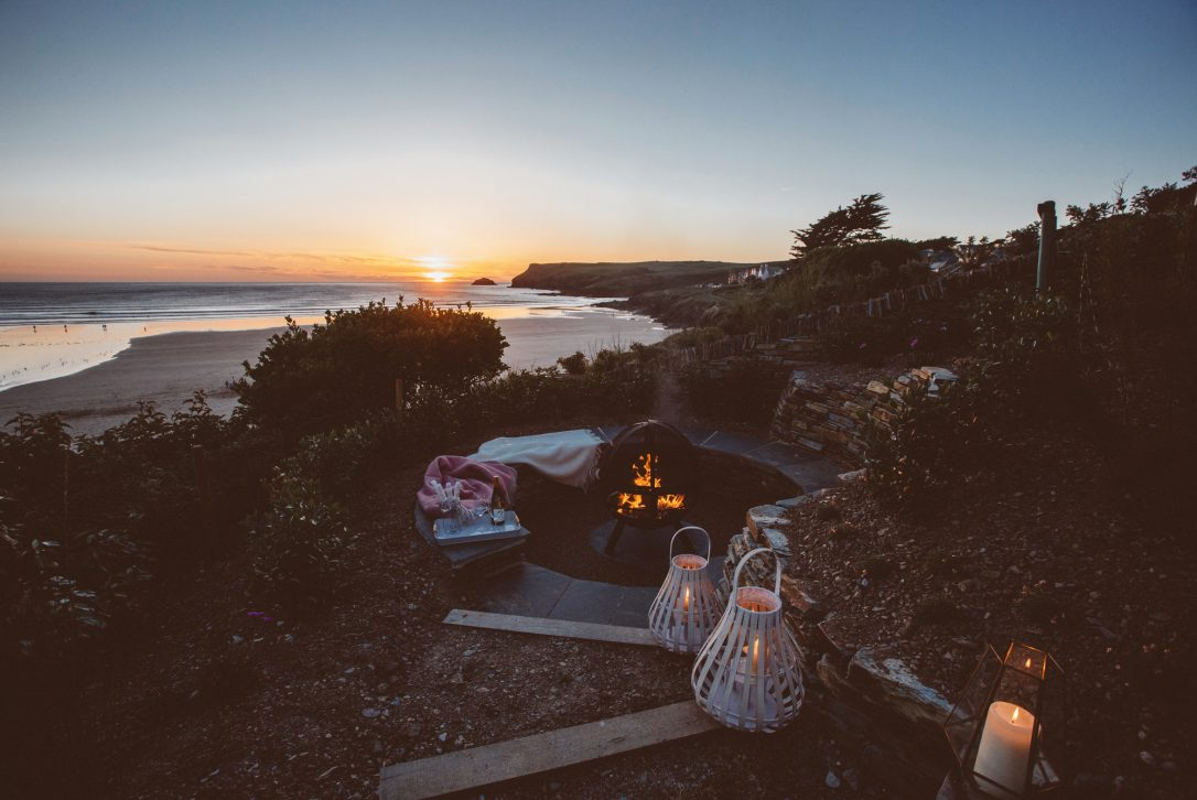 Firepit at Carn Mar, a self-catering holiday home in New Polzeath, North Cornwall
