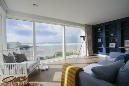 Reading room at Carn Mar, a self-catering holiday home in Polzeath, North Cornwall