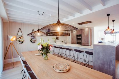 Dining room in Chyanna, a luxury, self-catering holiday home in Polzeath, North Cornwall