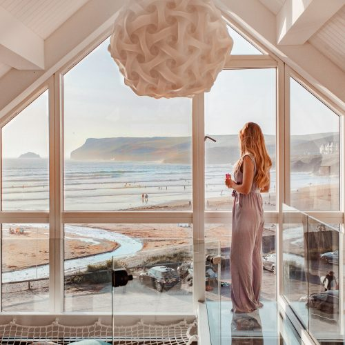 View from the top floor at Chyanna, a luxury, self-catering holiday home in Polzeath, North Cornwall