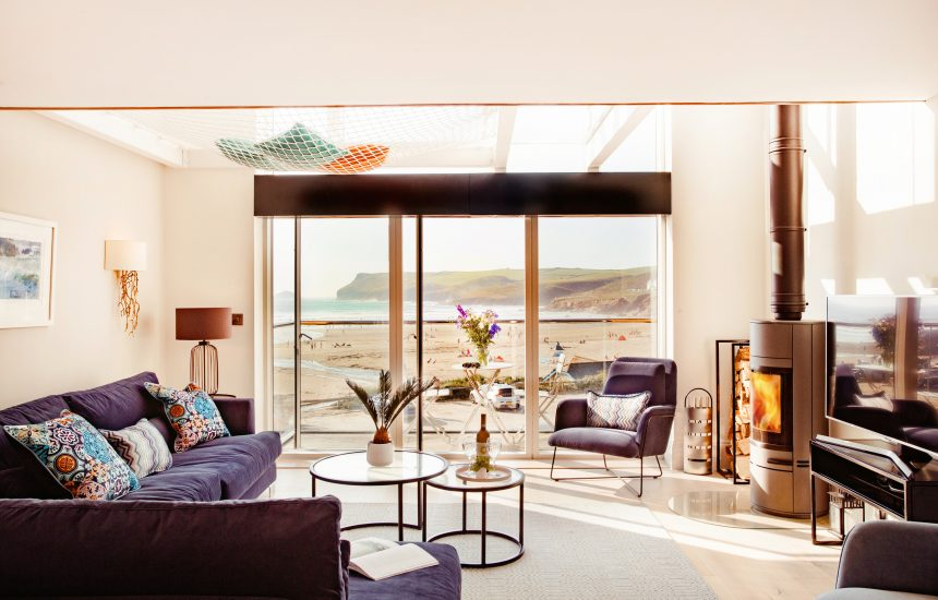 Living room at Chyanna, a luxury, self-catering holiday home in Polzeath, North Cornwall