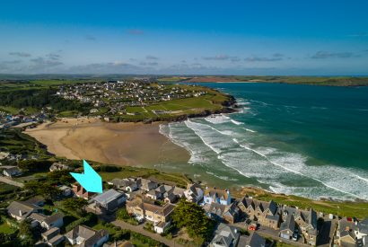 Aerial view of Coppers, a self-catering holiday home in New Polzeath, North Cornwall