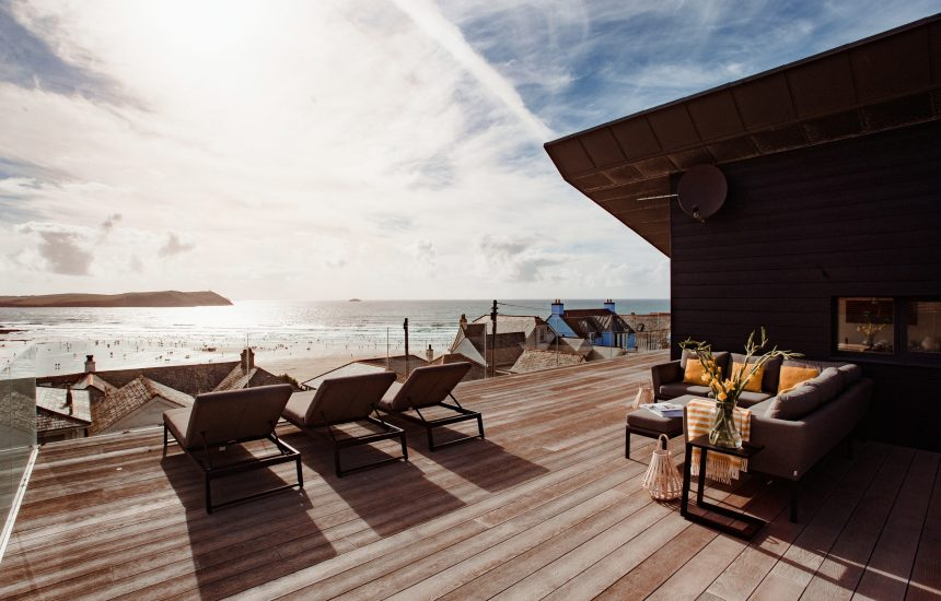 Sun deck at Coppers, a self-catering holiday home in New Polzeath, North Cornwall