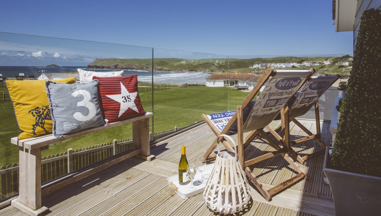View from the balcony at Drum Fish, a self-catering holiday home in Polzeath, North Cornwall