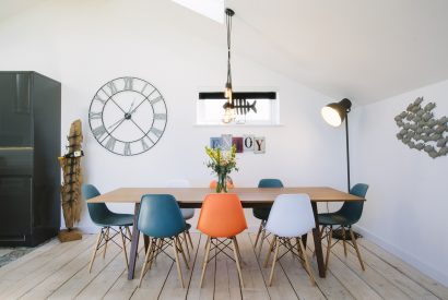 Dining area at Drum Fish, a self-catering holiday home in Polzeath, North Cornwall