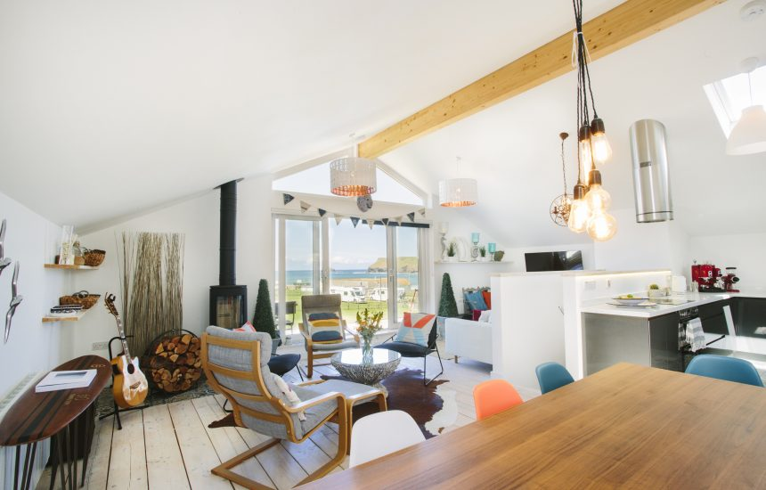 Open plan living area at Drum Fish, a self-catering holiday home in Polzeat, North Cornwall