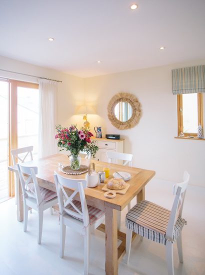 Dining room at Gwel an Mor, a self-catering holiday home in Polzeath, North Cornwall