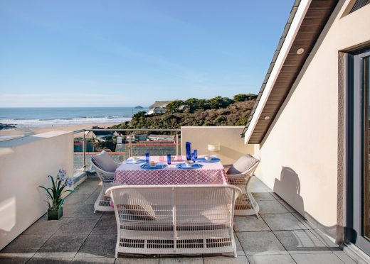 Balcony at Gwel an Mor, a self-catering holiday home in Polzeath, North Cornwall