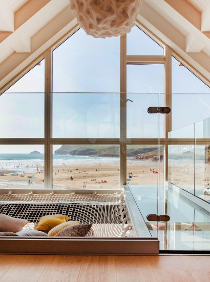 View from the top floor at Gwel Trelsa, a luxury, self-catering holiday home in Polzeath, North Cornwall