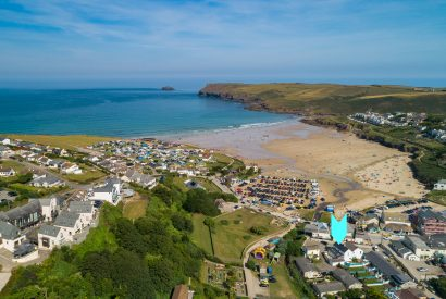 Aerial view of Hagervor House, a self-catering holiday home in Polzeath, North Cornwall