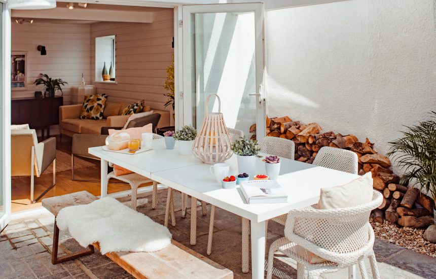 The veranda at Hargervor House, a self-catering holiday home in Polzeath, North Cornwall