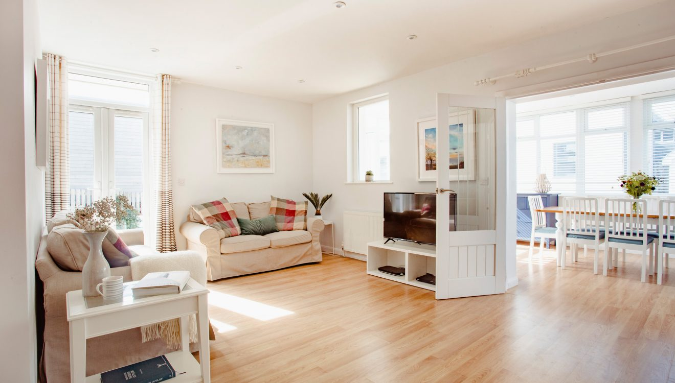 Living area at Hillcote, a self-catering holiday home in New Polzeath, North Cornwall