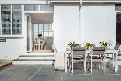 Outdoor area at Hillcote, a self-catering holiday home in New Polzeath, North Cornwall
