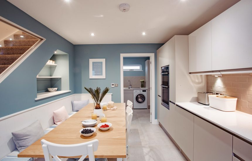 Kitchen and dining room at Holibobs, a self-catering holiday home near Rock, North Cornwall
