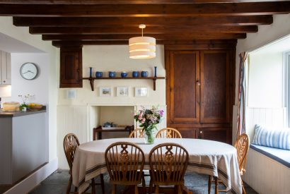 Dining room at Ivy Cottage, a self-catering holiday cottage in Polzeath, North Cornwall